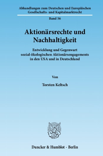 Cover: Aktionärsrechte und Nachhaltigkeit