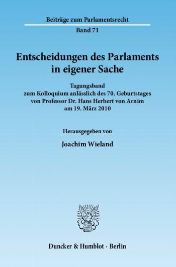 Cover: Entscheidungen des Parlaments in eigener Sache