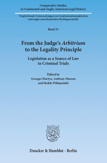 Cover: From the Judge's ›Arbitrium‹ to the Legality Principle