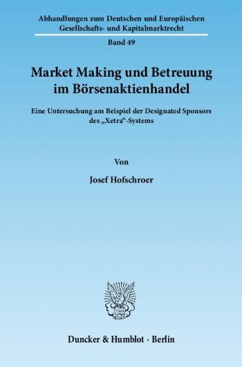 Cover: Market Making und Betreuung im Börsenaktienhandel