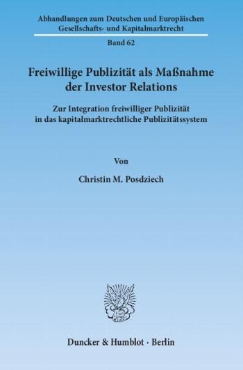 Cover: Freiwillige Publizität als Maßnahme der Investor Relations