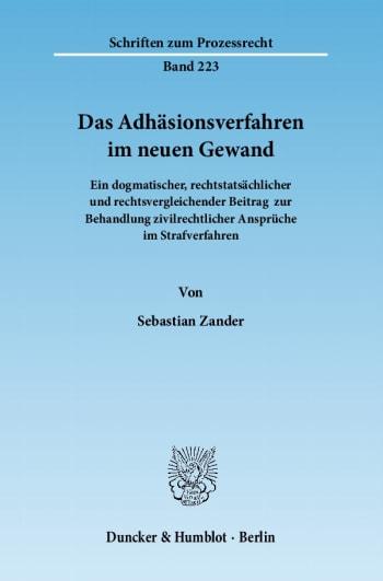 Cover: Das Adhäsionsverfahren im neuen Gewand