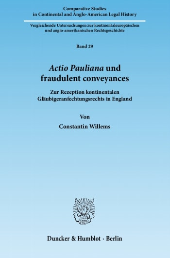 Cover: Actio Pauliana und fraudulent conveyances