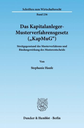 Cover: Das Kapitalanleger-Musterverfahrensgesetz (»KapMuG«)