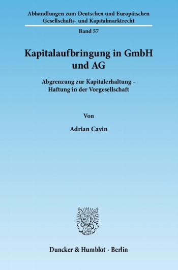 Cover: Kapitalaufbringung in GmbH und AG