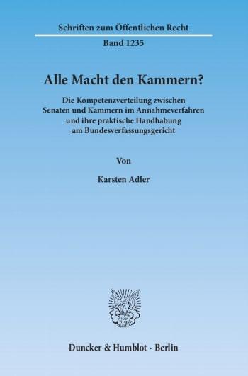 Cover: Alle Macht den Kammern?