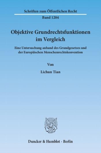 Cover: Objektive Grundrechtsfunktionen im Vergleich