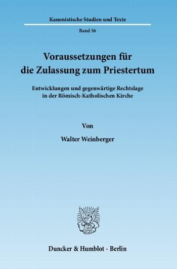 Cover: Voraussetzungen für die Zulassung zum Priestertum