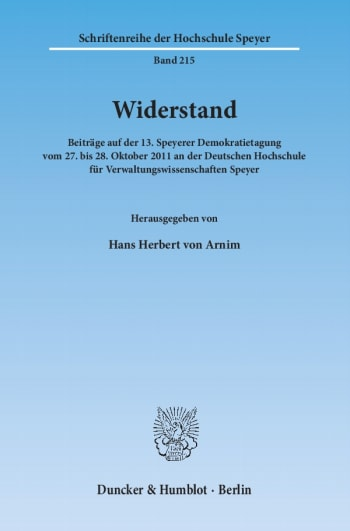 Cover: Widerstand