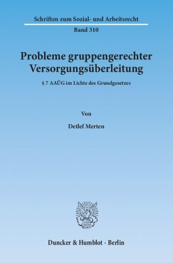 Cover: Probleme gruppengerechter Versorgungsüberleitung