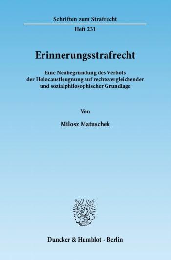 Cover: Erinnerungsstrafrecht