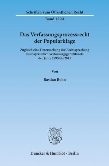 Cover: Das Verfassungsprozessrecht der Popularklage