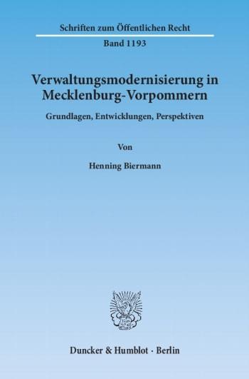 Cover: Verwaltungsmodernisierung in Mecklenburg-Vorpommern