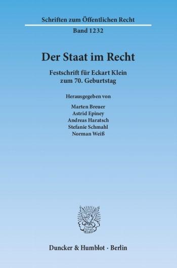 Cover: Der Staat im Recht