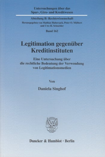 Cover: Legitimation gegenüber Kreditinstituten