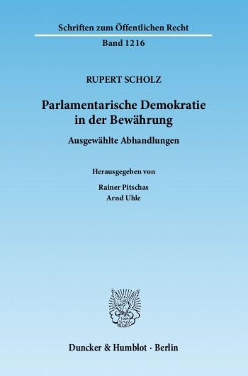 Cover: Parlamentarische Demokratie in der Bewährung