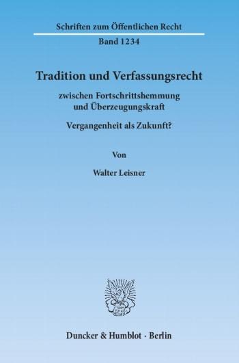 Cover: Tradition und Verfassungsrecht
