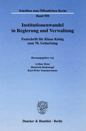 Cover: Institutionenwandel in Regierung und Verwaltung