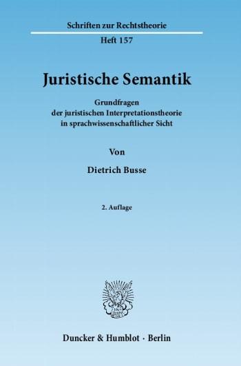 Cover: Juristische Semantik