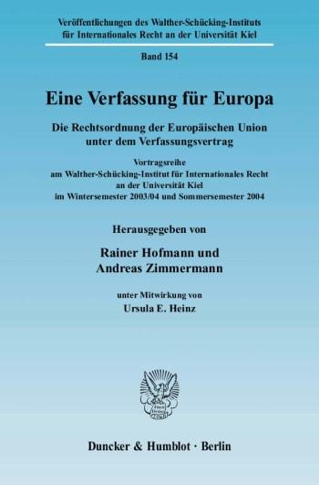 Cover: Eine Verfassung für Europa
