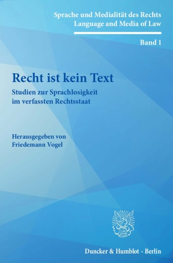 Cover: Sprache und Medialität des Rechts / Language and Media of Law (SMR)