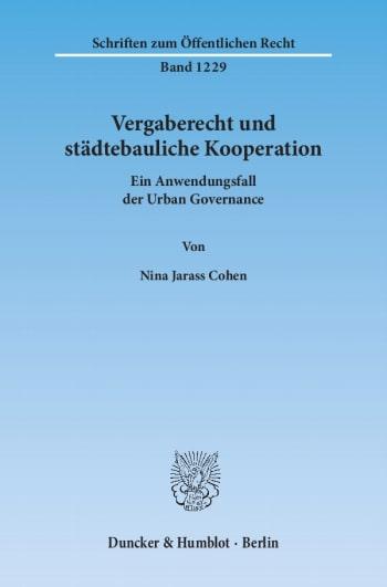 Cover: Vergaberecht und städtebauliche Kooperation