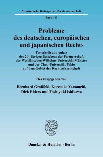 Cover: Probleme des deutschen, europäischen und japanischen Rechts