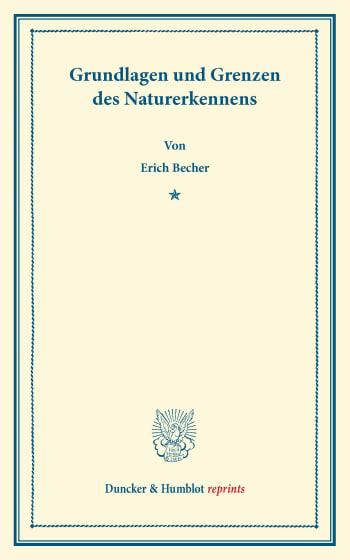 Cover: Grundlagen und Grenzen des Naturerkennens