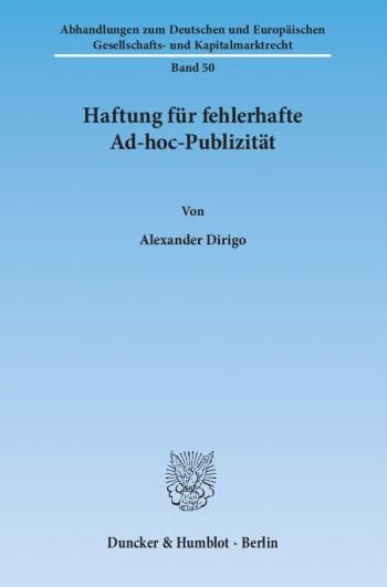 Cover: Haftung für fehlerhafte Ad-hoc-Publizität