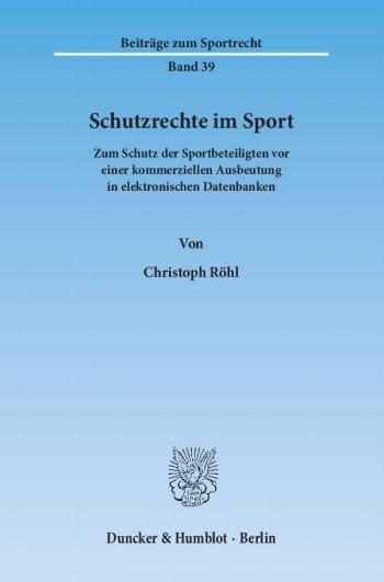 Cover: Schutzrechte im Sport
