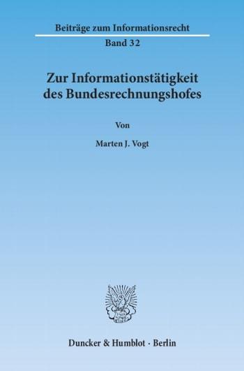 Cover: Zur Informationstätigkeit des Bundesrechnungshofes