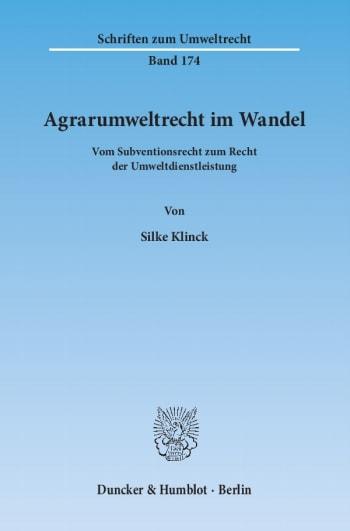 Cover: Agrarumweltrecht im Wandel