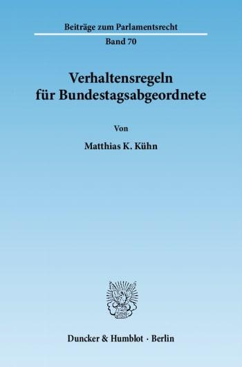 Cover: Verhaltensregeln für Bundestagsabgeordnete