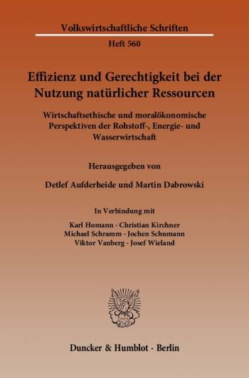 Cover: Effizienz und Gerechtigkeit bei der Nutzung natürlicher Ressourcen