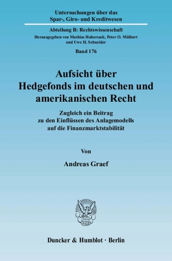 Cover: Aufsicht über Hedgefonds im deutschen und amerikanischen Recht