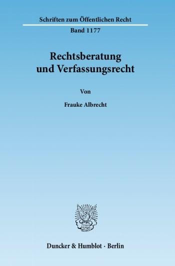 Cover: Rechtsberatung und Verfassungsrecht