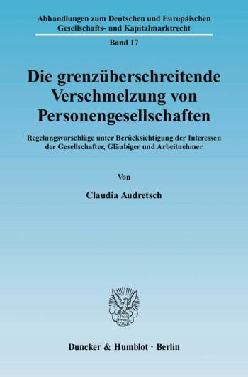 Cover: Die grenzüberschreitende Verschmelzung von Personengesellschaften