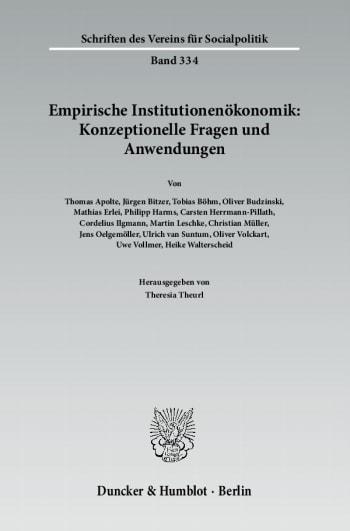 Cover: Empirische Institutionenökonomik: Konzeptionelle Fragen und Anwendungen