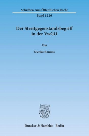 Cover: Der Streitgegenstandsbegriff in der VwGO