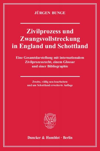 Cover: Zivilprozess und Zwangsvollstreckung in England und Schottland