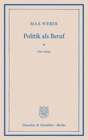 Cover: Politik als Beruf