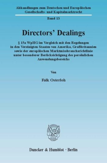 Cover: Directors' Dealings