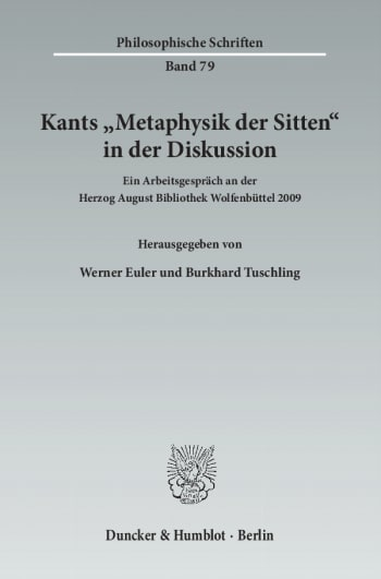 Cover: Kants »Metaphysik der Sitten« in der Diskussion