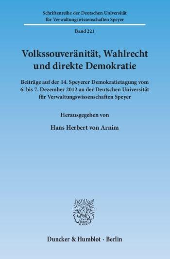 Cover: Volkssouveränität, Wahlrecht und direkte Demokratie