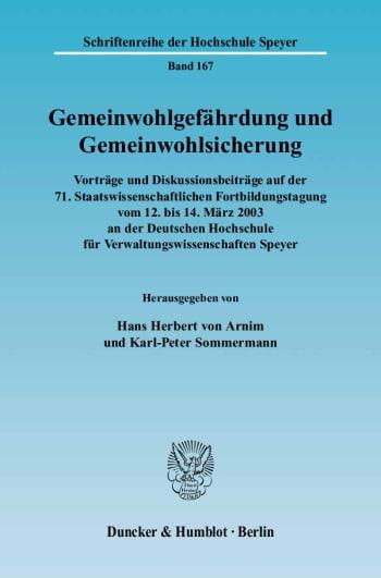 Cover: Gemeinwohlgefährdung und Gemeinwohlsicherung