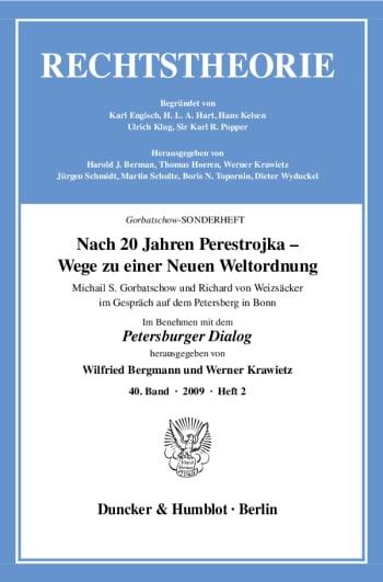 Cover: Rechtstheorie. Sonderhefte