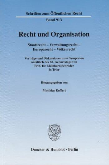 Cover: Recht und Organisation