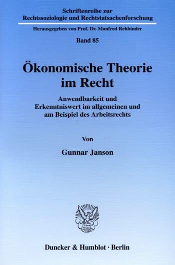 Cover: Ökonomische Theorie im Recht