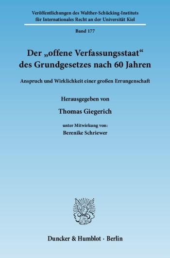 """Cover: Der """"offene Verfassungsstaat"""" des Grundgesetzes nach 60 Jahren"""