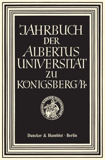 Cover: Jahrbuch der Albertus Universität zu Königsberg/Pr. (JBK)